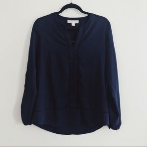 ✨*MK Navy Blue Tunic Blouse w Perforated Detailing
